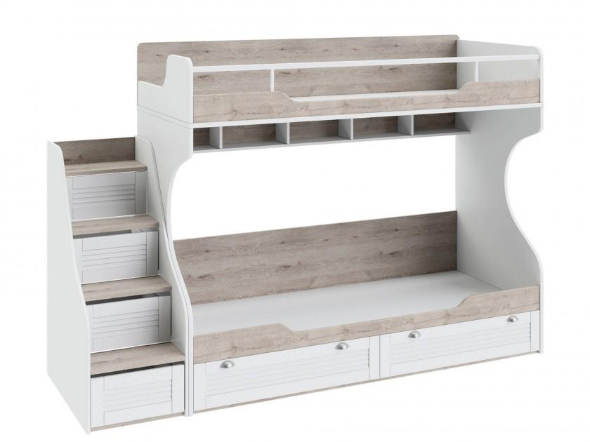 цена на кровать Кровать двухъярусная с приставной лестницей Ривьера (80х200) Ривьера