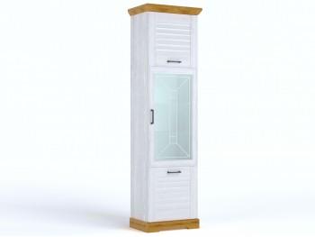 Распашной шкаф Пенал высокий со стеклом Кантри
