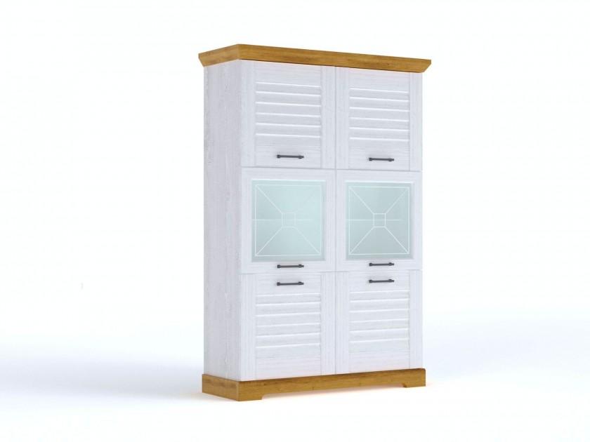 цена на распашной шкаф Пенал низкий со стеклом Кантри Кантри в цвете Орех Рибек натуральный