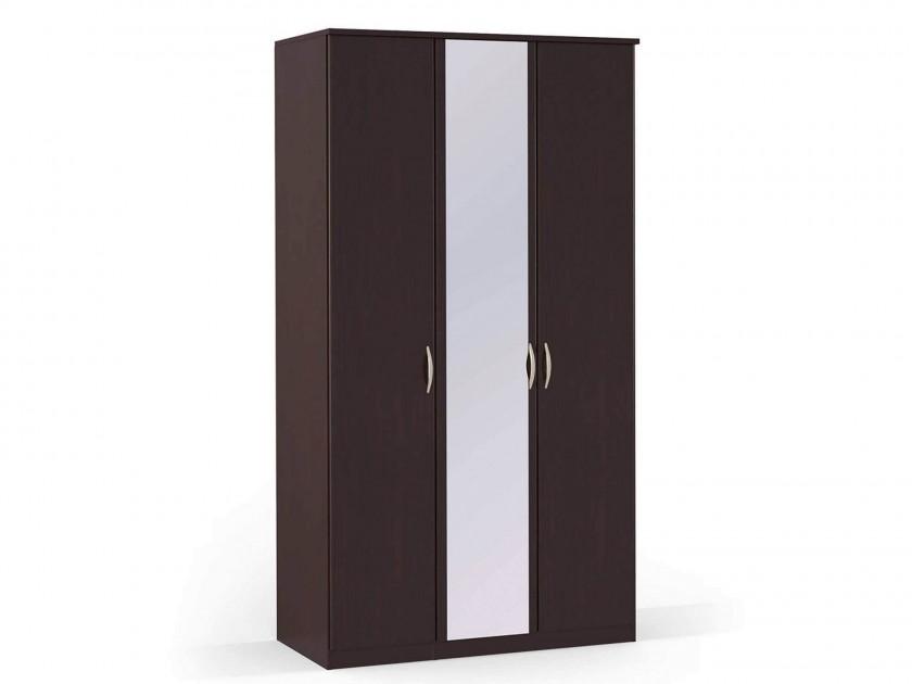 распашной шкаф Шкаф платяной 3-х дверный с зеркалом Концепт Концепт Дуб темный