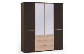 Распашной шкаф Шкаф платяной 4-х дверный с ящиками и зеркалами Uno