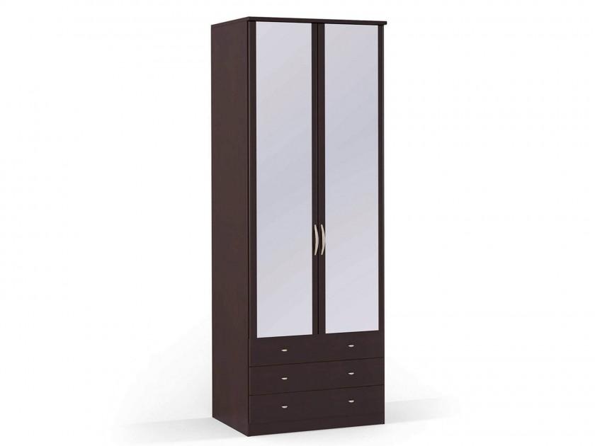 распашной шкаф Шкаф платяной 2-х дверный с ящиками и зеркалами Концепт Концепт Дуб темный