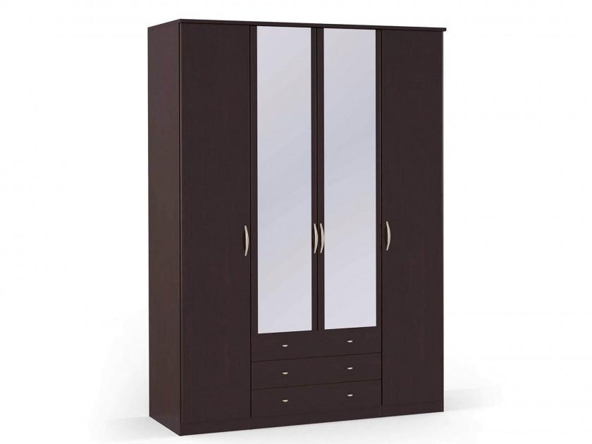 распашной шкаф Шкаф платяной 4-х дверный с ящиками и зеркалами Концепт Концепт Дуб темный шкаф платяной 2 х дверный с зеркалами uno
