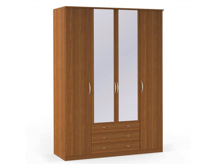 распашной шкаф Шкаф платяной 4-х дверный с ящиками и зеркалами Концепт Концепт Орех Sorento