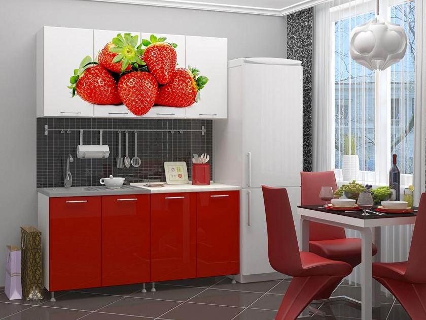 кухонный гарнитур Кухня Клубника 1600 Фотопечать