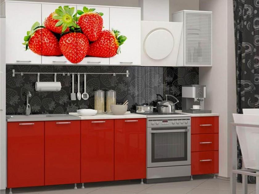 кухонный гарнитур Кухня Клубника 2000 Фотопечать