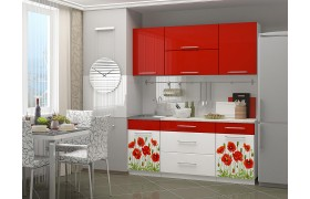 Кухонный гарнитур с фотопечатью Маки 1,8