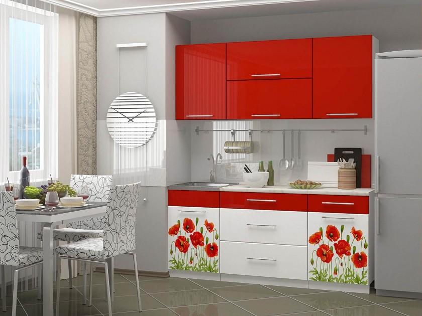 цена на кухонный гарнитур Кухня с фотопечатью Маки 1,8 Кухня с фотопечатью Маки 1,8