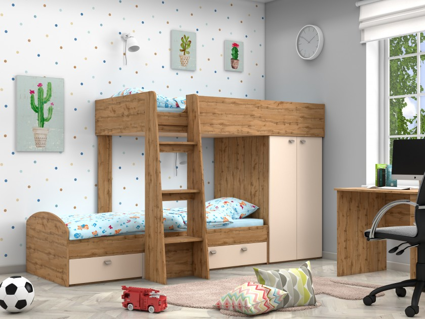 кровать Двухъярусная кровать Golden Kids-2 (90х200) Golden Kids-2 двухъярусная кровать для детей впк кровать 2 х ярусная polini kids simple 5000
