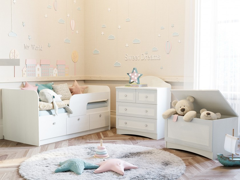 детский гарнитур Детская Прованс Прованс в цвете Белый кровать кровать 2 х ярусная прованс 80х190 прованс в цвете белый