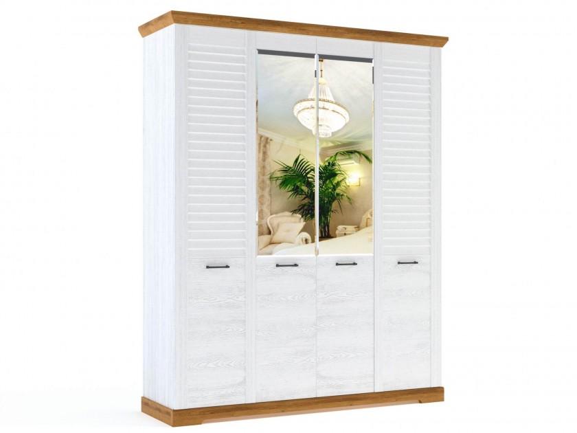 распашной шкаф Шкаф 4-х дверный Кантри Кантри в цвете Орех Рибек натуральный шкаф обувной скарпе 4 итальянский орех