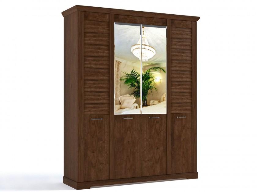 распашной шкаф Шкаф 4-х дверный Кантри Кантри в цвете Орех Рибек темный шкаф обувной скарпе 4 итальянский орех