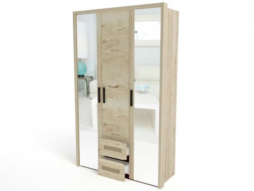 распашной шкаф Шкаф 3-х дверный (4 узкие полки) с обкладкой Мале Мале