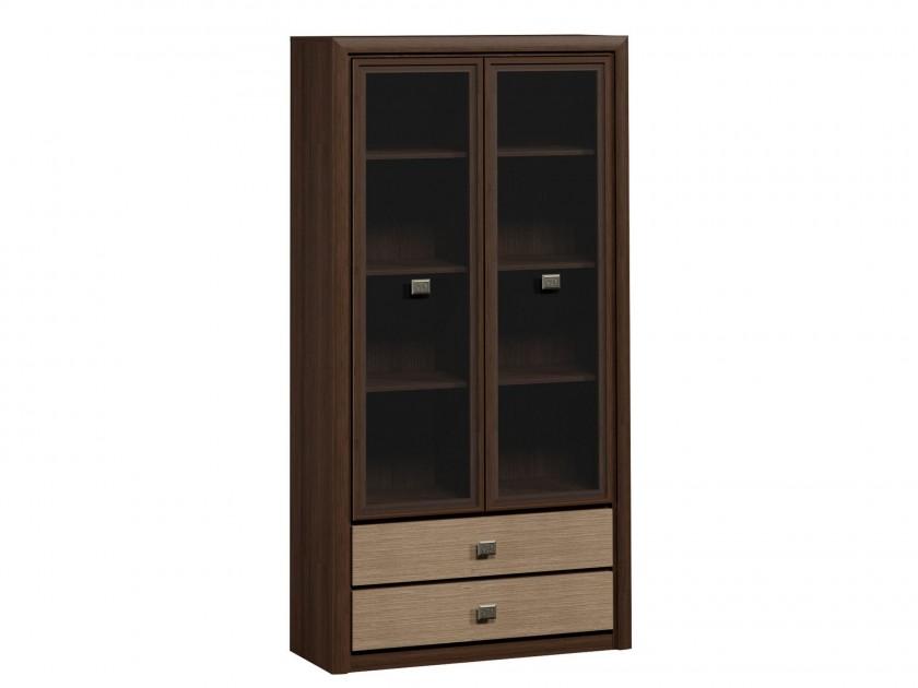 распашной шкаф шкаф 2 х дверный с ящиками коен штрокс темный Витрина 2-х дверная с ящиками Коен Штрокс темный