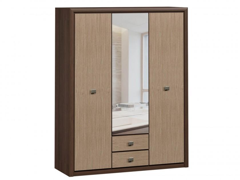 распашной шкаф шкаф 2 х дверный с ящиками коен штрокс темный Шкаф 3-х дверный с ящиками Коен Штрокс темный