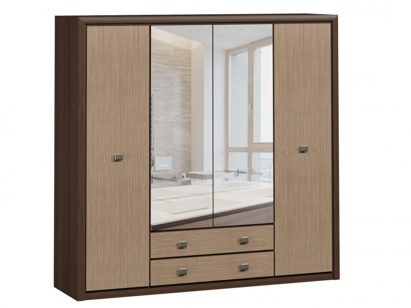 распашной шкаф шкаф 2 х дверный с ящиками коен штрокс темный Шкаф 4-х дверный с ящиками Коен Штрокс темный