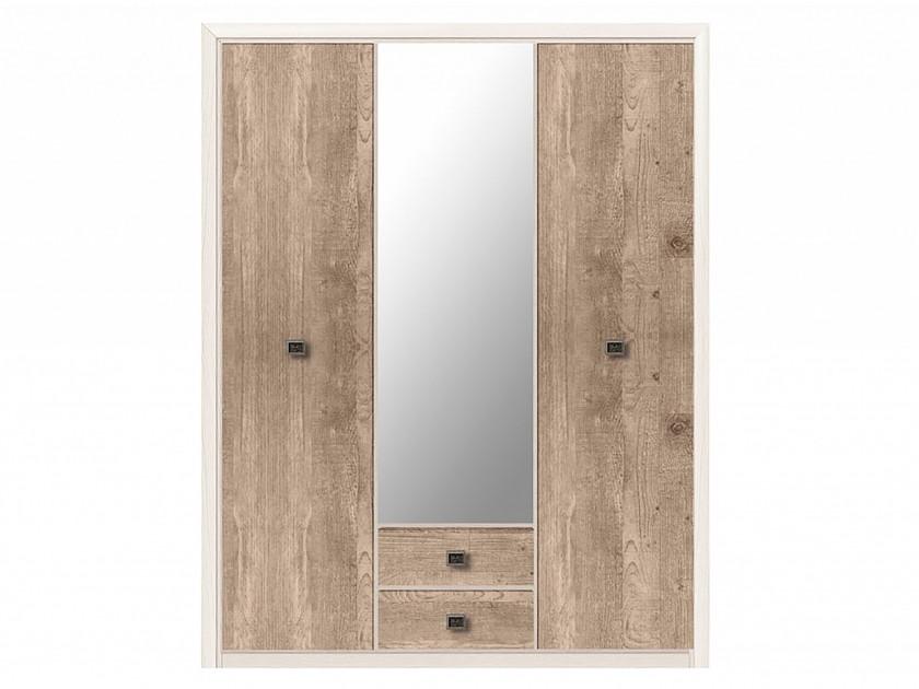 распашной шкаф шкаф 2 х дверный с ящиками коен штрокс темный Шкаф 3-х дверный с ящиками Коен Коен Ясень Снежный