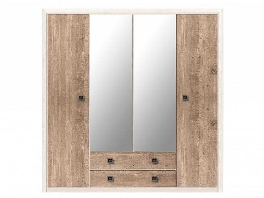 распашной шкаф шкаф 2 х дверный с ящиками коен штрокс темный Шкаф 4-х дверный с ящиками Коен Коен Ясень Снежный