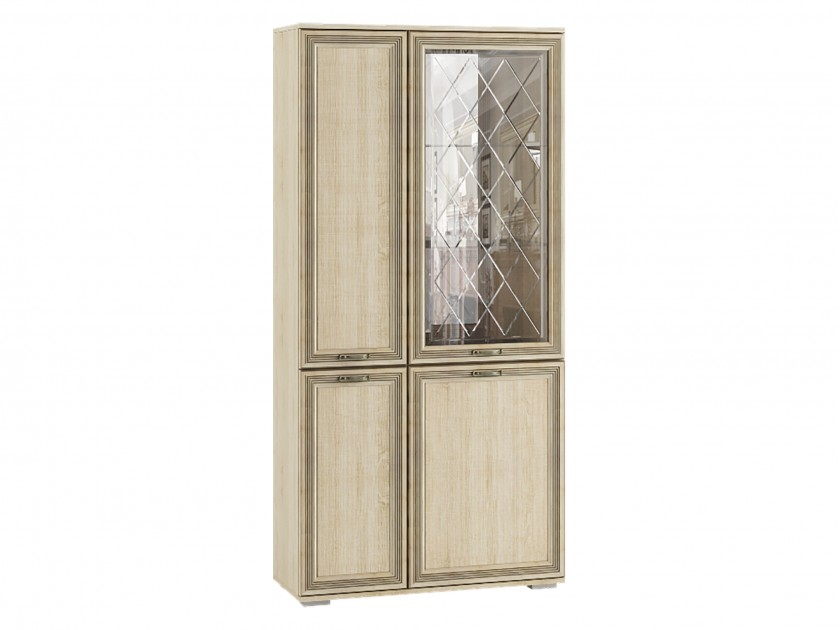 шкаф Шкаф с полками и витриной ЛШ-6 Ливорно Ливорно в цвете Дуб Сонома