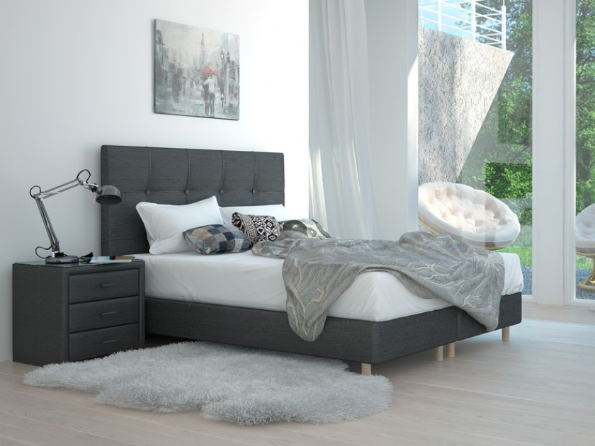 кровать Изголовье Stradivari Grand (140, черный, Shaggy Grafit) Stradivari Grand