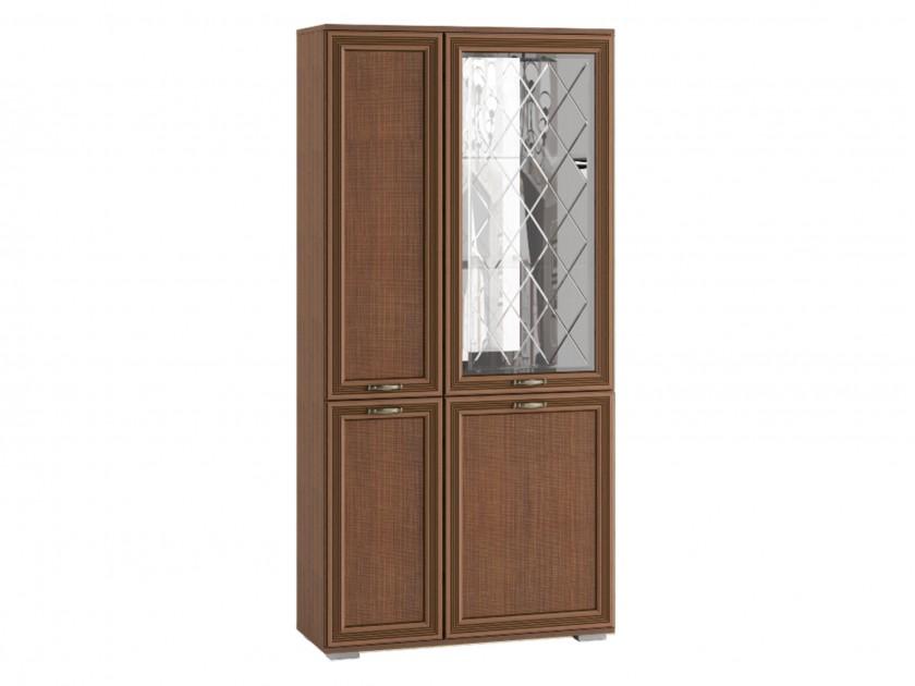 распашной шкаф Шкаф с полками и витриной ЛШ-6 Ливорно Ливорно в цвете Орех донской распашной шкаф шкаф комби с зеркалом лш 9 ливорно ливорно в цвете дуб сонома
