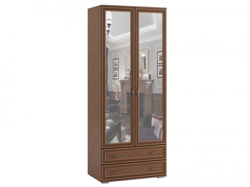 распашной шкаф Шкаф 2-х створчатый с зеркалом ЛШ-23 Ливорно Ливорно в цвете Орех донской распашной шкаф шкаф комби с зеркалом лш 9 ливорно ливорно в цвете дуб сонома