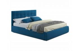 """Кровать Мягкая """"Selesta&; 1400 синяя матрасом ГОСТ"""