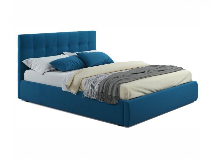 Мягкая кровать Selesta 1400 синяя с матрасом ГОСТ с Мягкая кровать Selesta 1400 синяя с матрасом ГОСТ с распродажа кроватей с матрасом недорого
