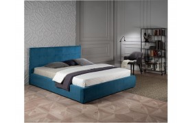 """Кровать Мягкая """"Selesta&; 1800 синяя матрасом АСТРА"""