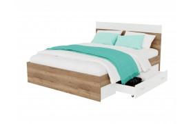 """Кровать """"Диана&; 1400 с 2 ящиками (дуб золотой/белый)"""