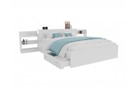 Кровать Доминика с блоком и ящиками 160 (Белый) матрасом АСТРА