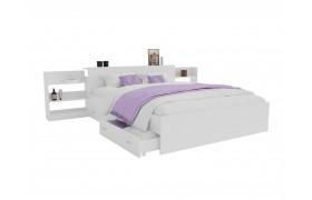 Кровать Доминика с блоком и ящиками 140 (Белый) матрасом ГОСТ