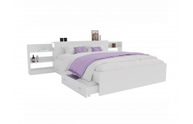 Кровать Доминика с блоком и ящиками 140 (Белый) матрасом PROMO