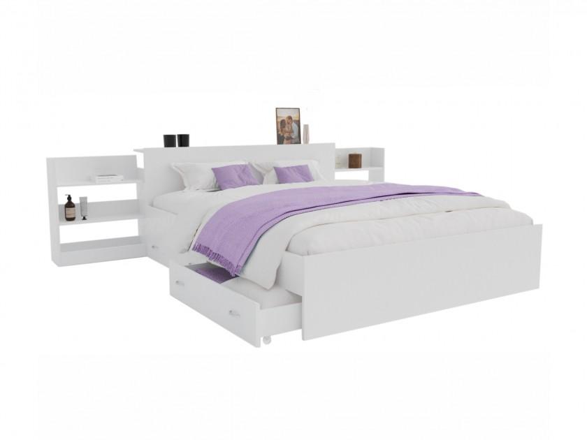 Кровать Доминика с блоком и ящиками 140 (Белый) с матрасом АСТРА Кровать Доминика с блоком и ящиками 140 (Белый) с матрасом АСТРА распродажа кроватей с матрасом недорого