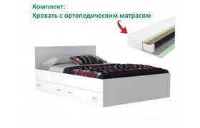 """Кровать """"Виктория&; 1400 с ящиками белая матрасом Pro"""