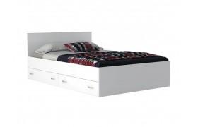 """Кровать """"Виктория&; 140 см. ящиками белая"""