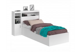 Кровать Виктория белая 90 с блоком, 1 тумбой и матрасом PROMO B