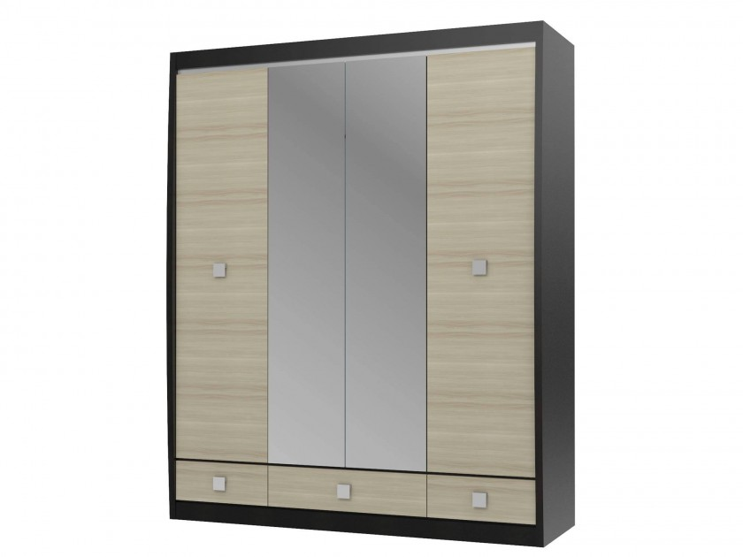 распашной шкаф Шкаф 4-х дв. с зеркалами Cseno Cseno в цвете Ясень глянец fu1 01 cg шкаф 4 дв 1 2 1 шатура flash светлый