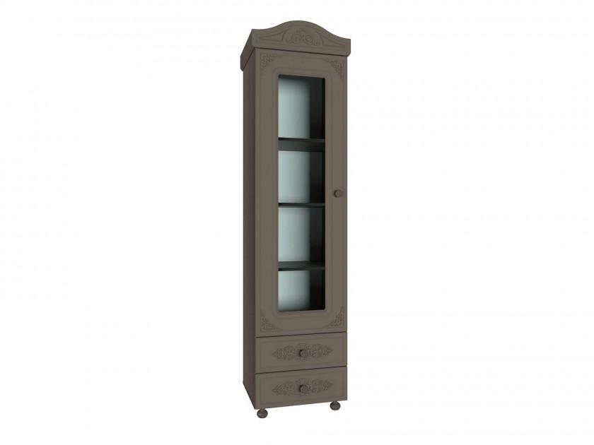 распашной шкаф Пенал со стеклом Ассоль Ассоль Плюс в цвете Грей