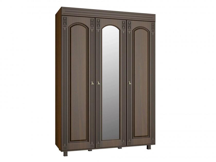 распашной шкаф Шкаф трехстворчатый с зеркалом Элизабет Элизабет в цвете Орех Темный
